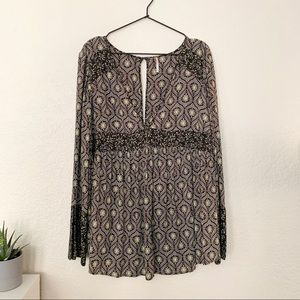 Free People V-Neck Flowy Tunic Top